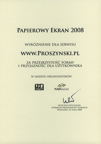 nagroda Papierowy Ekran