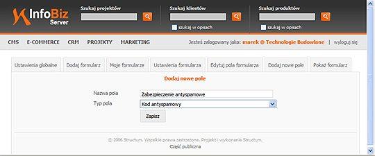 tworzenie formularzy internetowych - zabezpieczenie antyspamowe